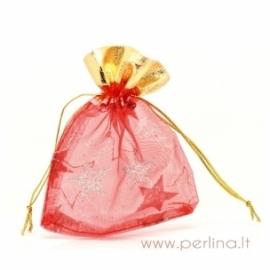 Kalėdinis organzos maišelis, raudonas, 9x12 cm