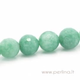 Sintetinio agato karoliukas, žalias, briaunuotas, 12 mm