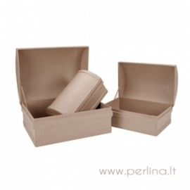Paper-Mache Treasure Chest Box Set, 3 pcs