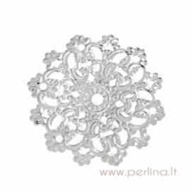 """Ažūrinė plokštelė """"Flower"""", sidabro sp., 4,6x4,5 cm"""