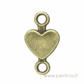 """Antikinės bronzos sp. sujungimas """"Širdutė"""", 15x8 mm"""