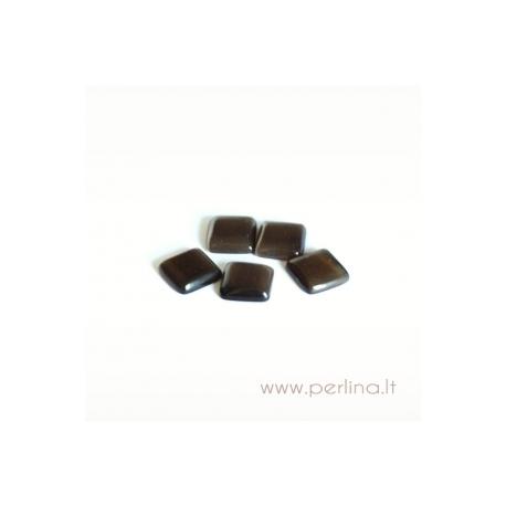 Katės akies kabošonas, tamsiai rudas, 8x8 mm