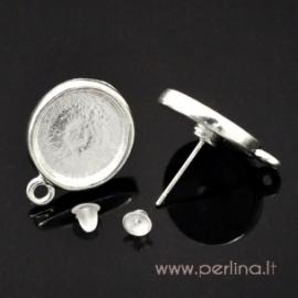 Sidabruota adatėlė auskarui, 20x15 mm
