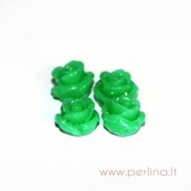 Sintetinis koralo karoliukas, gėlytė, žolės žalios sp., 12x12 mm