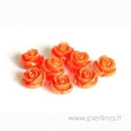 Sintetinis koralo karoliukas, gėlytė, oranžinė matinė, 12x12 mm