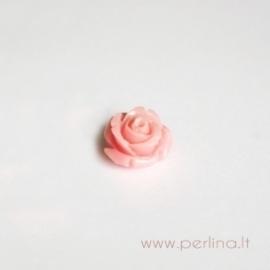 Sintetinis koralo karoliukas, gėlytė, rožinė, 12x12 mm