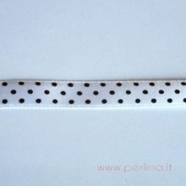 Satino juostelė, balta su taškeliais, 10 mm, 1 m
