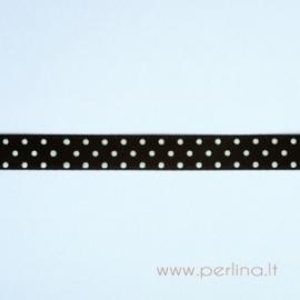 Satino juostelė, juoda su taškeliais, 10 mm, 1 m