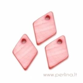 """Kriauklės pakabukas """"Rombas"""", tamsiai rožinis, 13x9 mm"""