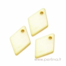"""Kriauklės pakabukas """"Rombas"""", geltonas, 13x9 mm"""