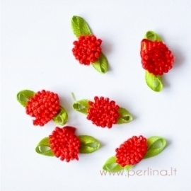 Satino gėlytė, raudona, 2 cm