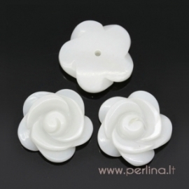 "Shell bead ""Flower"", half drilled, 15x15 mm"
