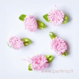 Satino gėlytė, tamsiai rožinė, 2 cm