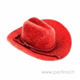 Kaubojaus skrybėlė, raudona, 7,6 cm