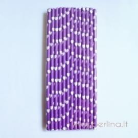 Popieriniai šiaudeliai, violetiniai su širdutėm, 25 vnt