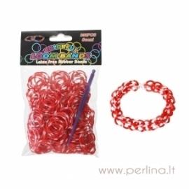 Loom bands bracelet making kit, red&white