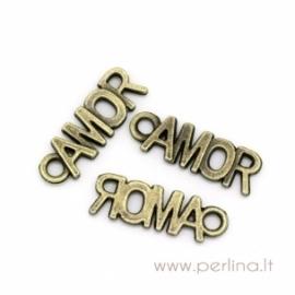 "Pakabukas ""AMOR"", ant. bronzos sp., 21x7 mm"