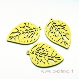 """Medinis pakabukas """"Lapas"""", geltonos sp., 5,7x3,8 cm"""
