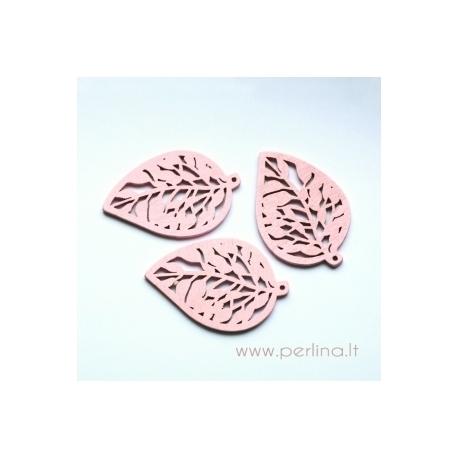 """Medinis pakabukas """"Lapas"""", šviesiai rožinės sp., 5,7x3,8 cm"""