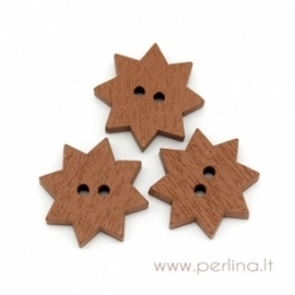 "Wood button ""Star"", brown, 20 mm"