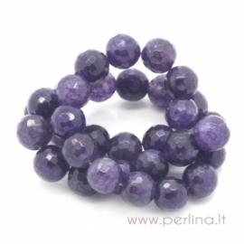 Synthetic agate gemstone bead, purple, faceted, 12 mm