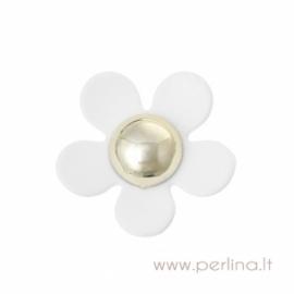 Akrilinė gėlytė, baltos sp., 3,8x3,6 cm