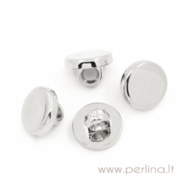 Acrylic button, silver tone, 10 mm