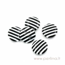 Akrilinė saga, juodos ir baltos linijos, 14,5 mm