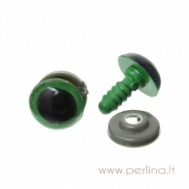 Plastikinės akys, žalios sp., 16x12 mm, 2 vnt.
