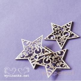 """Kartoninė detalė """"Nėriniuotos Kalėdos - Žvaigždės"""", 3 vnt."""