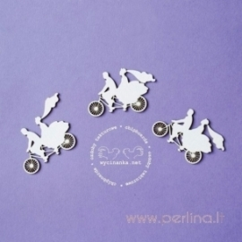 """Kartoninė detalė """"Vestuvės - Jaunavedžių pora ant dviračio"""", 3 vnt."""