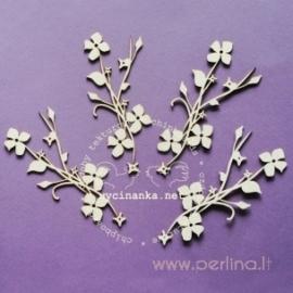 """Kartoninė detalė """"Žydinčios gėlės"""", 4 vnt."""