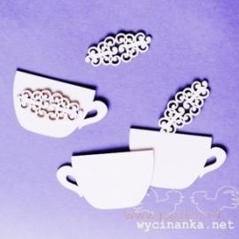 """Kartoninė detalė """"Arbatos puodelis, retro"""", 3 vnt."""