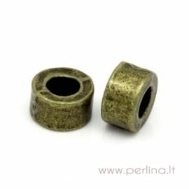 """Antikinės bronzos sp. intarpas - karoliukas """"Kolona"""", 6x3 mm"""