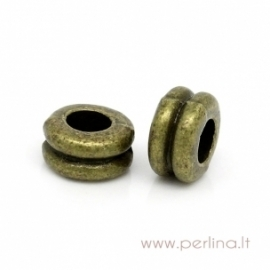 """Antikinės bronzos sp. intarpas - karoliukas """"Svarmenys"""", 6x3 mm"""