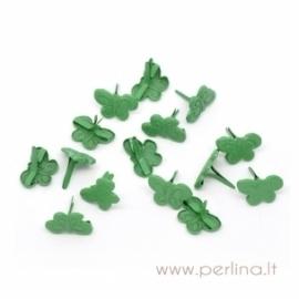 """Dek.vinukas """"Drugelis"""", žalios sp., 16x12 mm, 1 vnt."""