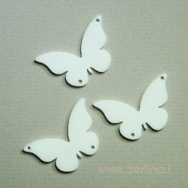 "Plexiglass finding ""Butterfly 7"", white, 4x2,5 cm, 1 pc"