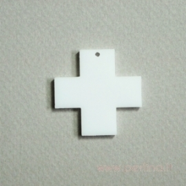 "Org. stiklo detalė-pakabukas ""Kryžius"", baltos sp., 3x3 cm"