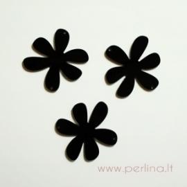 """Org. stiklo detalė-intarpas """"Gėlytė"""", juodos sp., 4x4 cm"""