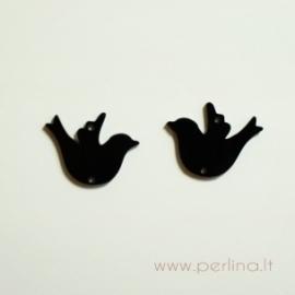"""Org. stiklo detalė-intarpas """"Paukštelis"""", juoda sp., 3x2,3 cm"""