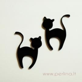 """Org. stiklo detalė-pakabukas """"Katinėlis 1"""", juodos sp., 4x3,2 cm"""