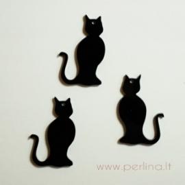"""Org. stiklo detalė-pakabukas """"Katinėlis 2"""", 4x2,5 cm, 1 vnt"""