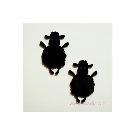 """Org. stiklo detalė-pakabukas """"Avytė"""", juodos sp., 4x2,7 cm"""