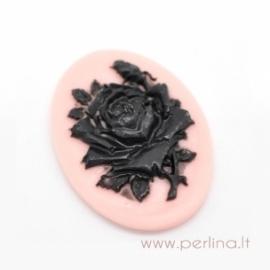 "Akrilinė kamėja ""Black flower"", 41x30 mm"