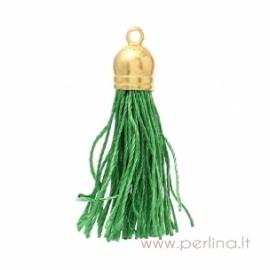Dirbt. šilko kutas su antgaliu, žalias, 4,5x1 cm