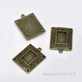 Antique bronze pendant - frame, 31x23 mm