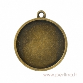 Antique bronze pendant - frame, 3,8x3,4 cm