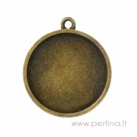 Pakabukas - rėmelis, ant. bronzos sp., 3,8x3,4 cm