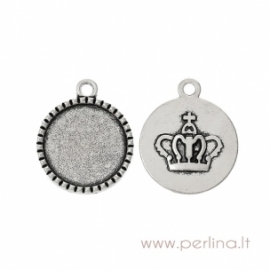 "Cabochon setting pendant ""Crown"", antique silver, 26x22 mm"
