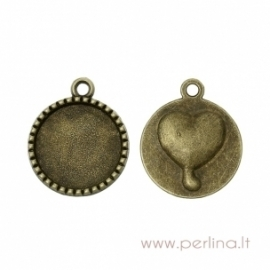 "Cabochon setting pendant ""Heart"", antique bronze, 26x22 mm"